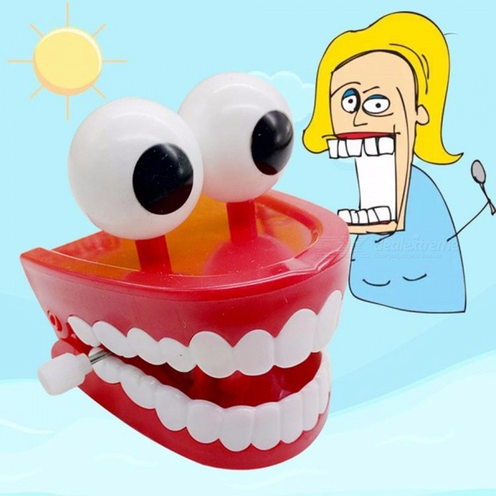 Cute Big Mouth Dentist Walking Babbling Teeth Clockwork Toy, Christmas Gift Dental Tooth Wind-up Toy For Kids Red