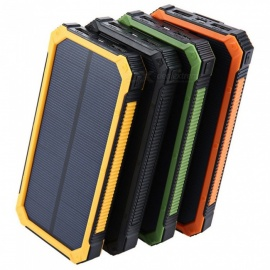 Portable-Three-Proof-Solar-Powered-Power-Bank-Large-Capacity-20000mAh-External-Battery-Pack-Dual-USB-Mobile-Power-Yellow