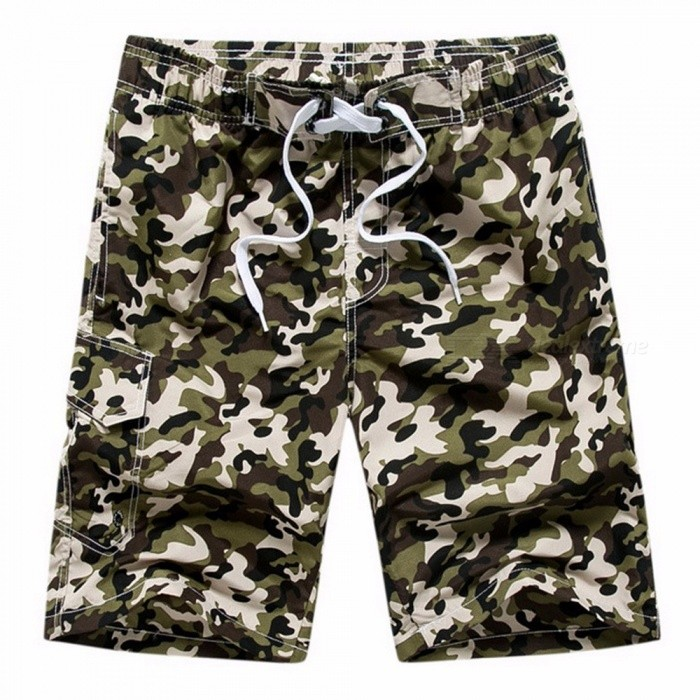 Fashion Men\'s Casual Camouflage Board Shorts, Casual Quick Dry Large Size Summer Male Beach Shorts, Short Pants Army Green/XXXL