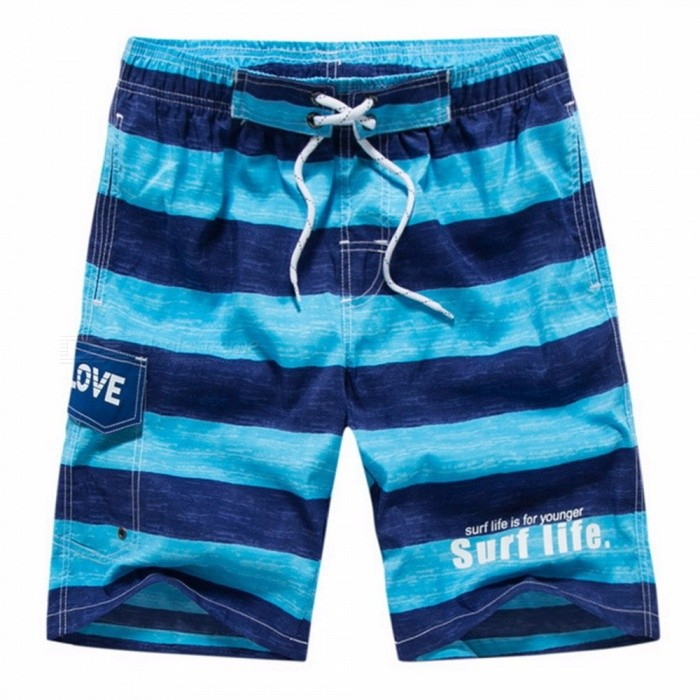 Men\'s Casual Striped Beach Shorts, Fashion Summer Quick Dry Plus Size Male Polyester Board Shorts, Short Pants Blue/M