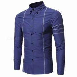 New-Features-Traces-Men-Solid-Color-Shirts-Korean-Slim-Mens-Long-sleeved-Casual-Cotton-Shirt-Black
