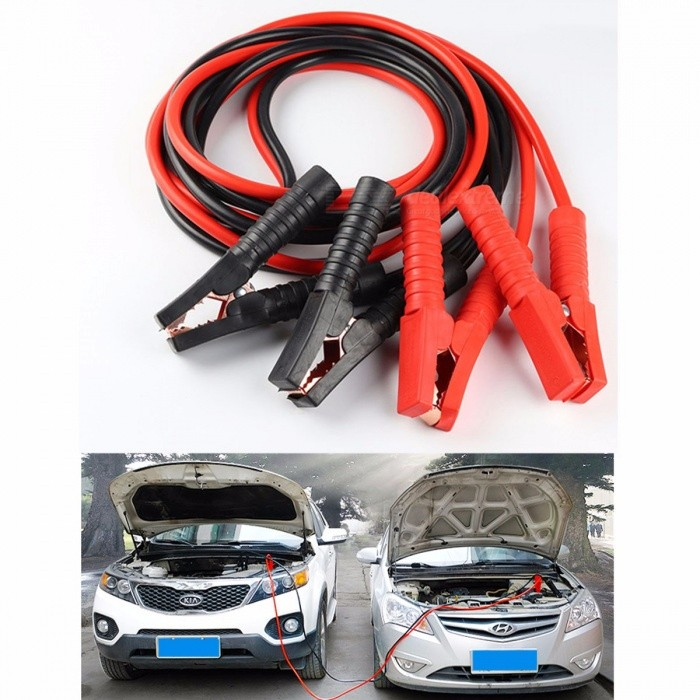 1Set Car Battery Emergency Battery Cable Car Ride FireWire Cables Battery Clip Power Lines 2000A 4m Black