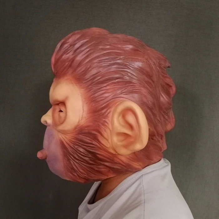 Rise-Of-Planet-Of-The-Apes-Halloween-Cosplay-Gorilla-Masquerade-Mask-Realistic-Monkey-King-Costume-Cap-For-Party-BrownOneSize