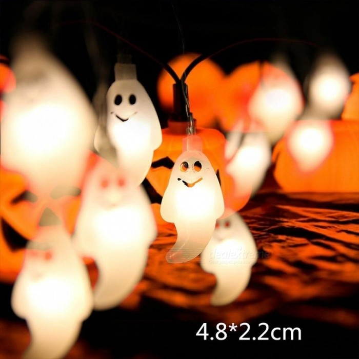 1m 10-LED Hanging Halloween Decor Ghost LED String Light Lantern Lamp For DIY Home Outdoor Party Decoration Warm White/0-5W