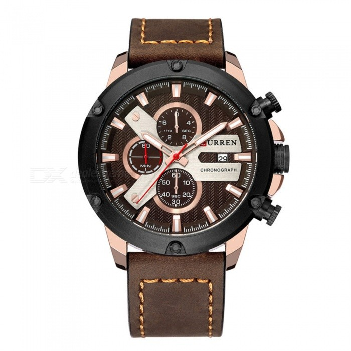 CURREN 8308 Waterproof Round Dial Fashion Quartz Watch with 3 Sub-Dials, Leather Strap for Couples - Brown