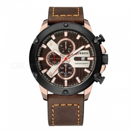 CURREN-8308-Waterproof-Round-Dial-Fashion-Quartz-Watch-with-3-Sub-Dials-Leather-Strap-for-Couples-Brown