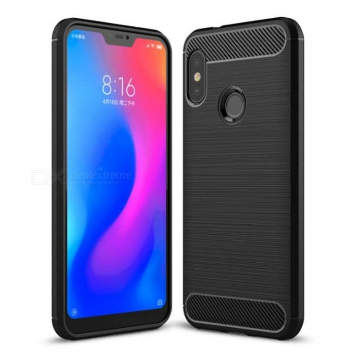 Naxtop Wire Drawing Carbon Fiber Textured TPU Brushed Finish Soft Phone Back Cover Case fr Xiaomi Mi A2 Lite (Redmi 6 Pro)