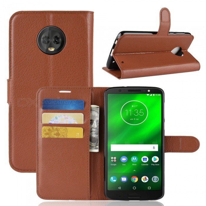 Buy Naxtop Phone Wallet Flip Leather Holder Cover Case for Motorola Moto G6 Plus - Brown with Litecoins with Free Shipping on Gipsybee.com