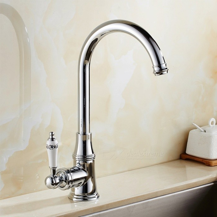 Brass Chrome 360 Degree Rotatable Ceramic Valve Single Handle One-Hole Kitchen Faucet