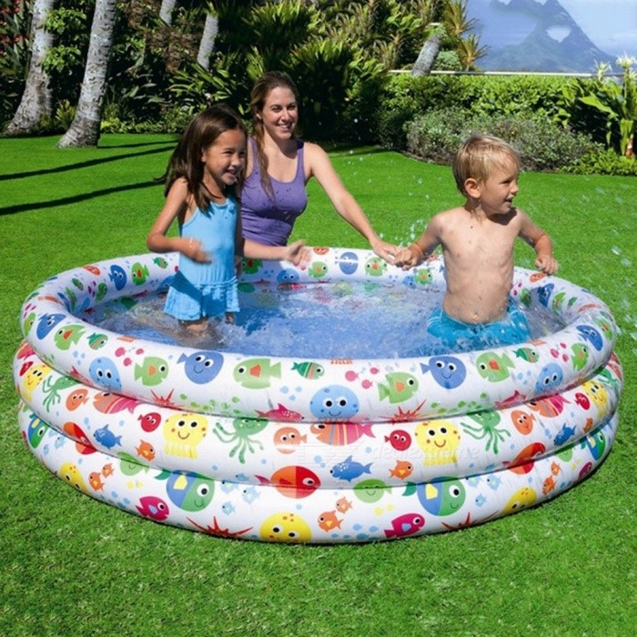 INTEX56440-Colorful-Fish-Inflatable-Baby-Swimming-Pool-Trinuclear-Portable-Outdoor-Baby-Bathtub-168*40cm-Multi