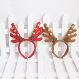 Christmas Kids Headband Reindeer Antler Hair Hoop Headpiece For Kids Christmas Costume Party Red