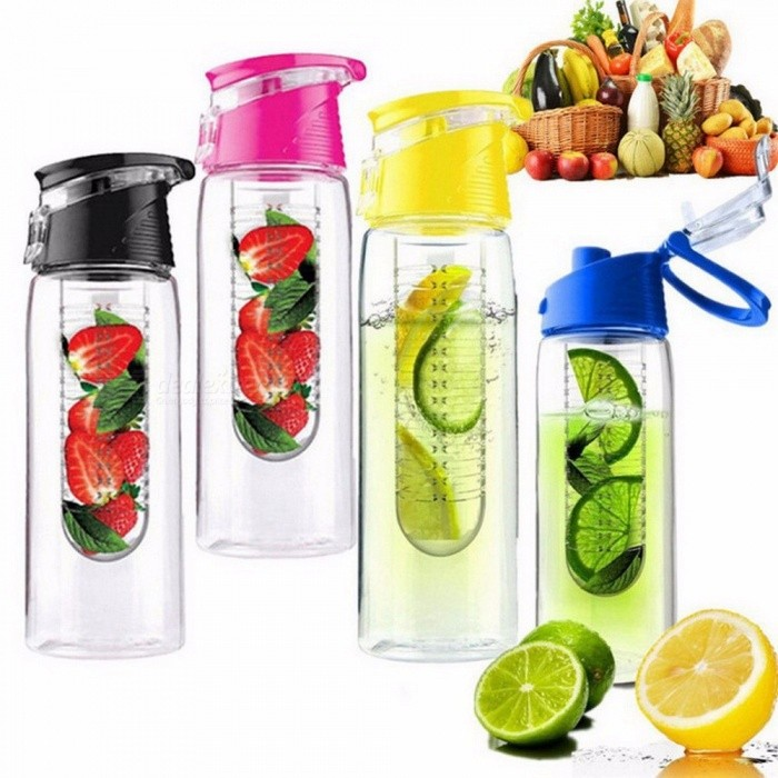 800 ML Portable Fruit Infusing Infuser Water Bottle Sports Lemon Juice Bottles Flip Lid For Kitchen Camping Travel