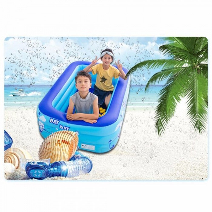 Baby Inflatable Square Swimming Pool For Kids 1.3m Size Trinuclear Outdoor Basin Bathtub Pools Household Sky Blue