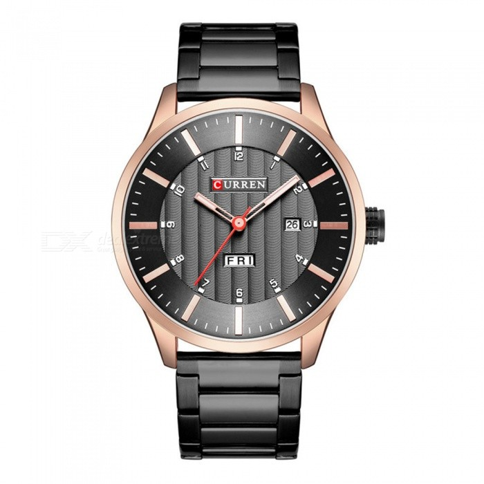 CURREN 8316 Fashion Waterproof Round Dial Men's Quartz Watch w/ Dual Calendar, Steel Strap