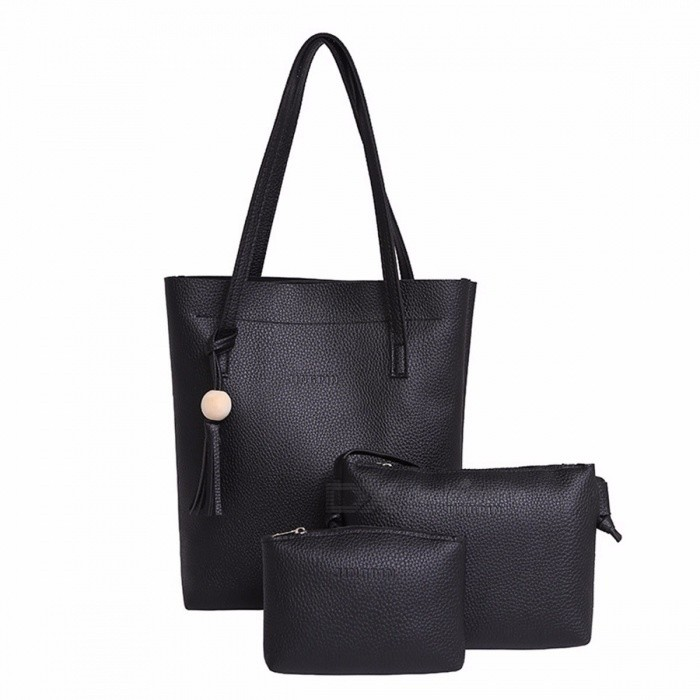 Wooden Beads Three-Piece Handbag Tassel Pattern Totes Bags For Women Composite Bag Fashion Large Capacity