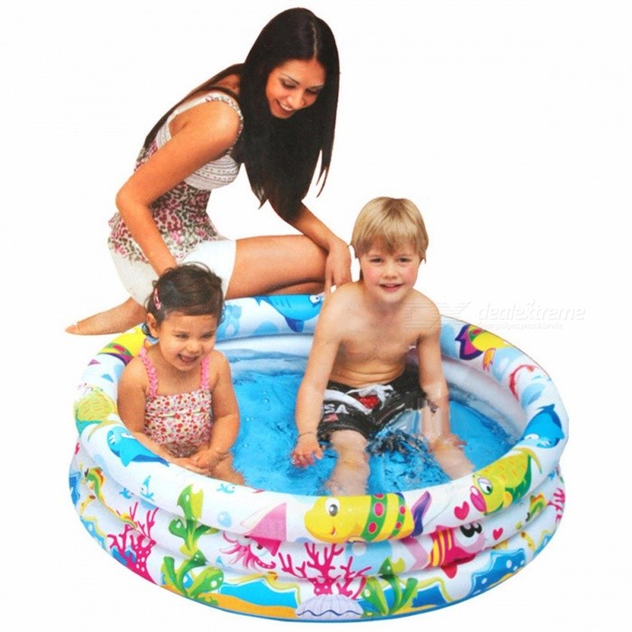 Inflatable Baby Swimming Pool Portable Round Trinuclear Outdoor Children Basin Bathtub Kids Pools 107x25cm Multi