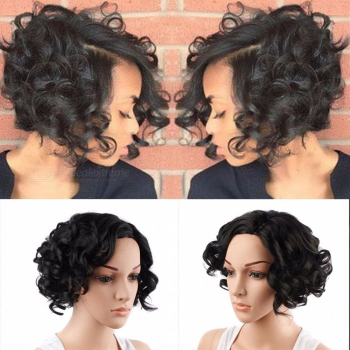 Wig-Short-Curly-Hair-Black-Wig-For-Women-Fluffy-Roll-Black-Wig-Natural-Black