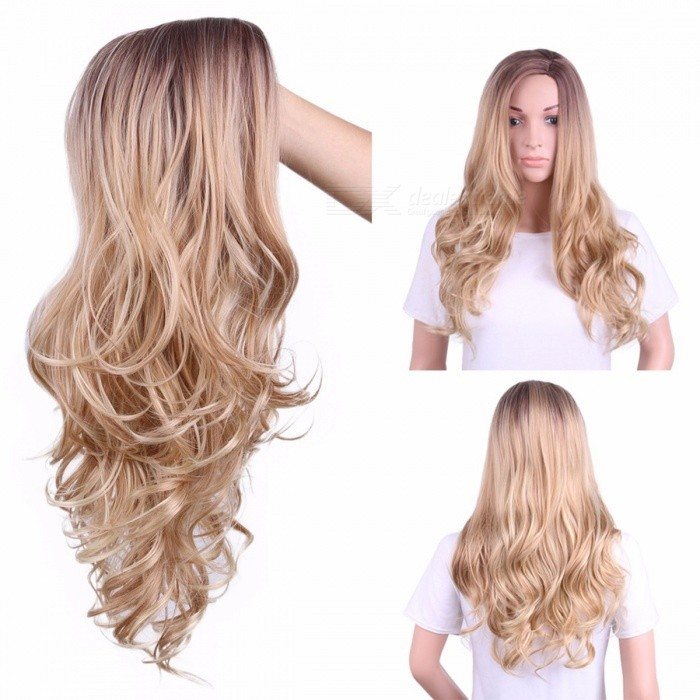 63cm-Wavy-Long-Mixed-Medium-Brown-Ombre-Cosplay-Synthetic-Hair-Wig-2b-Cap-For-Lady-Blonde