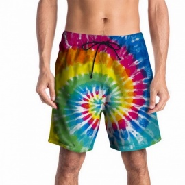 Summer-3D-Flower-Print-Mens-Board-Shorts-Youth-Beach-Shorts-Loose-Half-Pants-Knee-Length-Pants-Elastic-Waistband-BlueM
