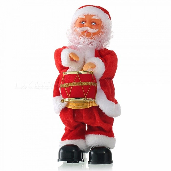 Christmas Santa Claus Playing The Drum Toys Dynamic Music Electric Doll Toys Christmas Decorations Gifts Red