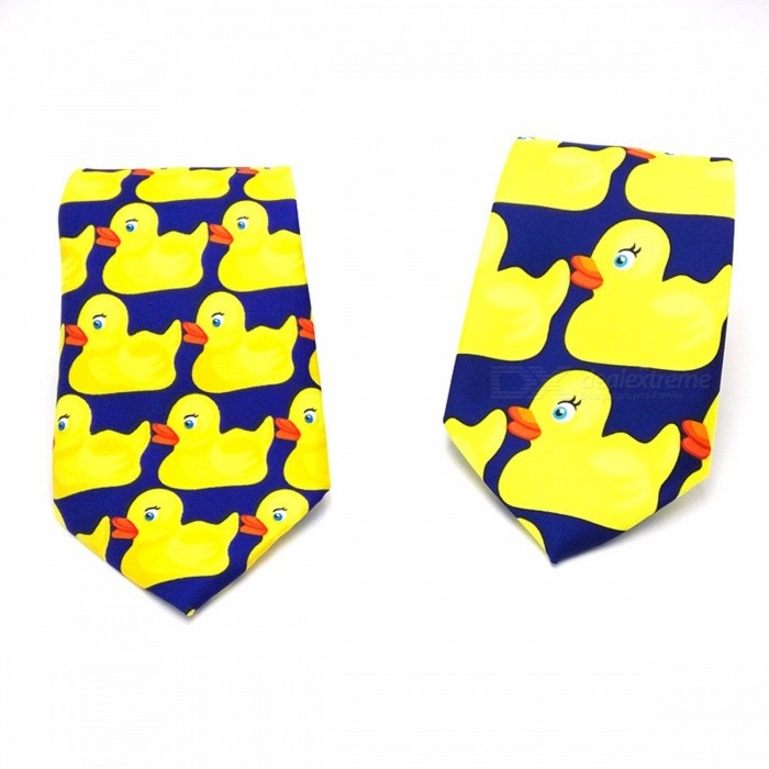 Cartoon Small Yellow Duck Print Tie Men's Fashion Novelty Tie 8CM High Quality Neck Tie For Party Performance