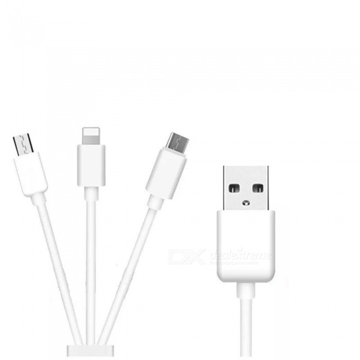 20cm USB 2.0 High Speed 3 in 1 Type-C + 8 Pin + Micro USB Charging Cable