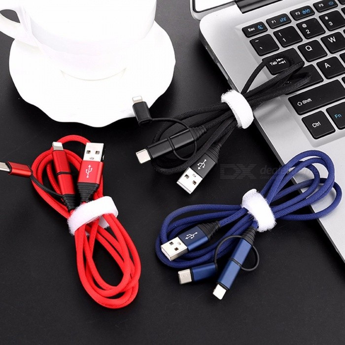 One Drag Three Mobile Phone Data Cable, 3-in-1 Lightning 8P / Micro USB / Type-C Fast Charging Cable For Android, Apple 1m