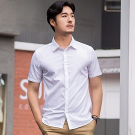 Waterproof-Solid-Color-Short-sleeved-Shirt-Male-Slim-Business-Occupation-Formal-Anti-Fouling-White-Shirt-White