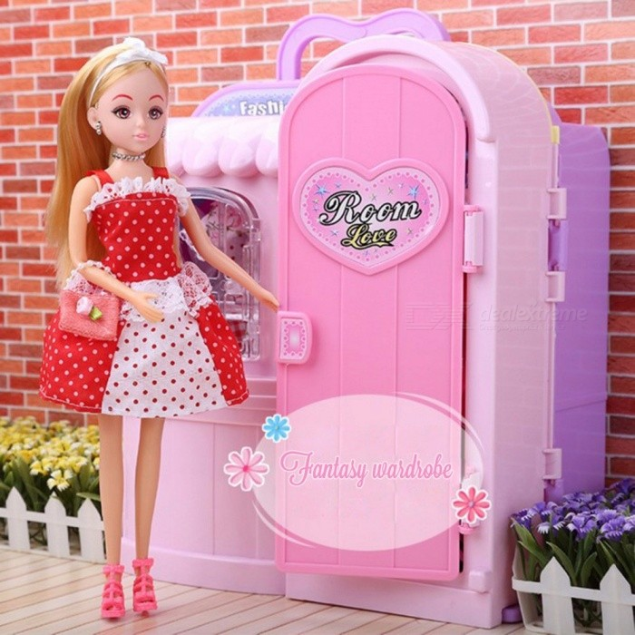 Luxury-Barbie-Gift-Box-Packaged-Plastic-Toy-Changing-Room-Dollhouse-Furniture-Wardrobe-Play-Set-Accessories-For-Girls-Pink