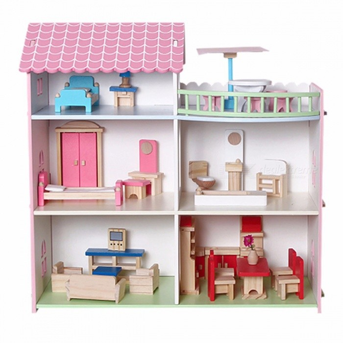 DIY Wooden Doll House Furniture Mini House For Doll Handmade Toys For Children Girls Boys Birthday Gifts Pink