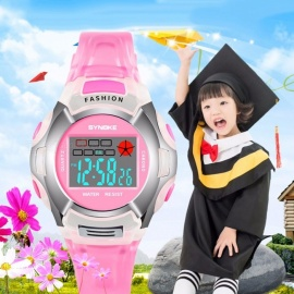 Synoky-Childrens-Wrist-Watch-Waterproof-Sport-Digital-Watch-For-Students-Boys-Girls-Pink