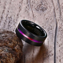 Tungsten-Band-Ring-8mm-For-Men-Comfort-Fit-Brushed-Black-Rainbow-Grooved