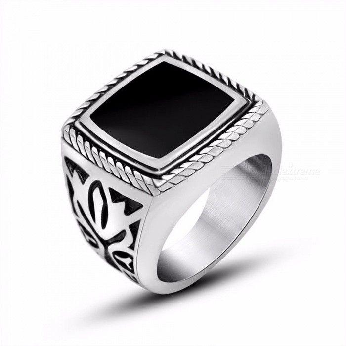 Men's Domineering Retro Ring, Tide Male Jewelry, Embossed Mysterious Pattern Ring, Titanium Steel Ring 7/Silver