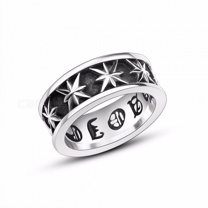 Retro Titanium Steel Anise Stars Trendy Men's Fashion Ring Accessories - Silver