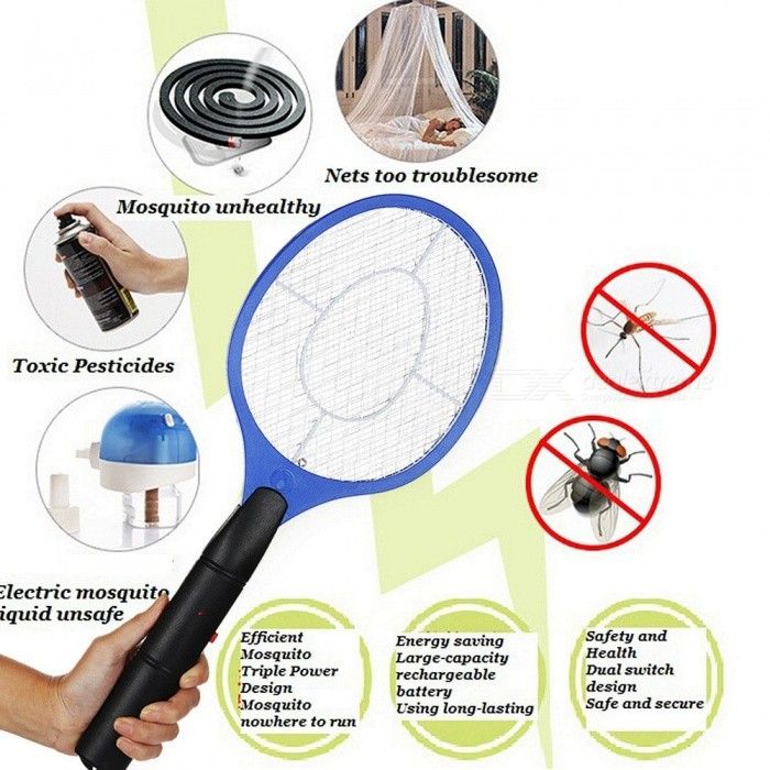 2 AA Batteries Operated Hand Racket Electric Mosquito Swatter Insect Home Garden Pest Bug Fly Mosquito Zapper Multi