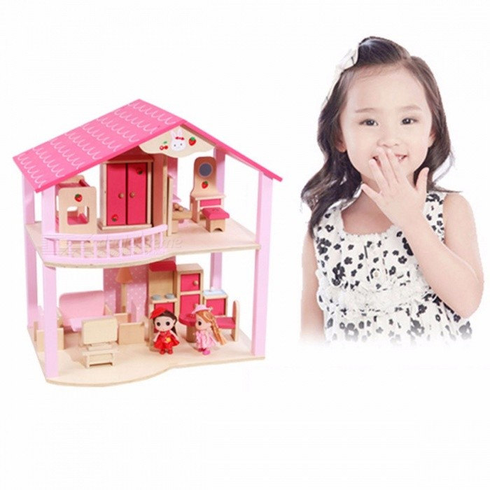 Dollhouse-2-Dolls-Play-Toy-Doll-House-Barbie-Municipal-House-Barbie-Villa-Castle-Play-House-Barbie-Furniture-Pink