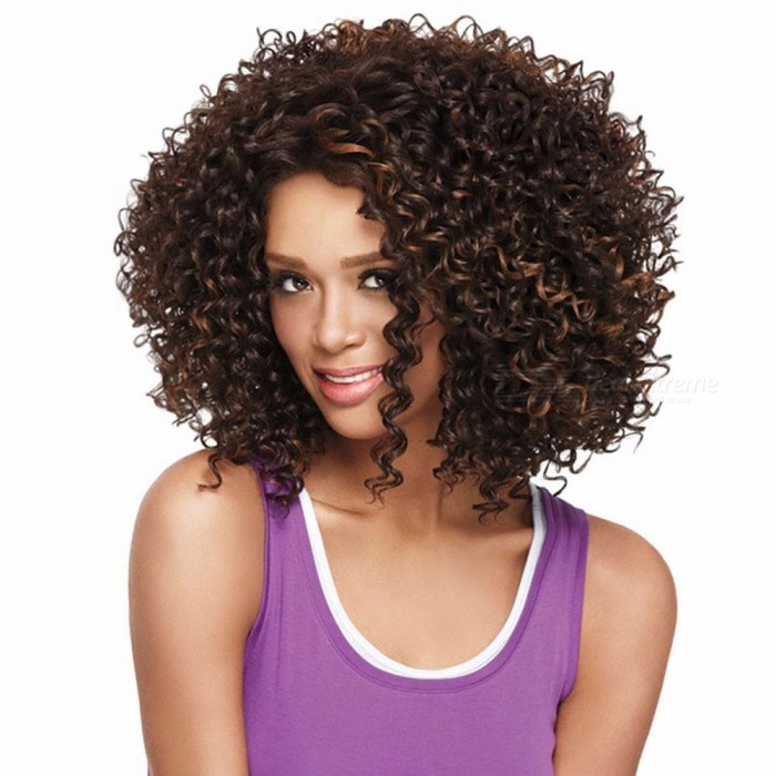 Women-Short-Wigs-Kinky-Curly-Hair-Wigs-Synthetic-Hair-Blonde-Brown-Mixed-Color-Brown