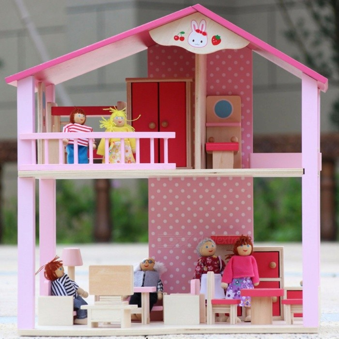 Dollhouse-6-Dolls-Play-Toy-Doll-House-Barbie-Municipal-House-Barbie-Villa-Castle-Play-House-Barbie-Furniture-Pink