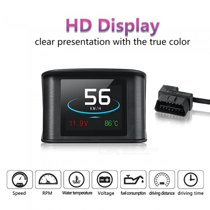 P10 Carro HUD Head Up Display, Velocímetro Digital Inteligente Com Porta OBDII / EUOBD, Velocímetro De Exibição LED