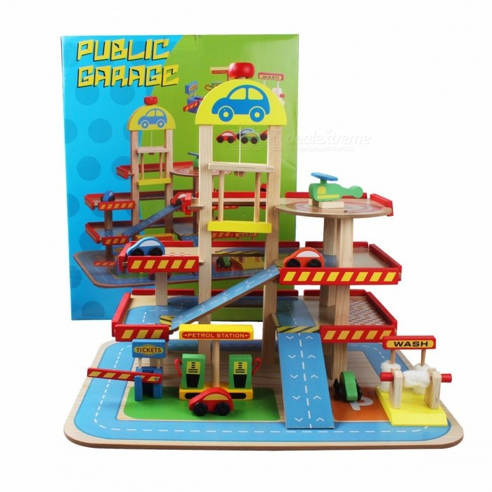 SHURE-Childrens-Wooden-Simulation-Parent-Child-Toy-Play-House-Wooden-Parking-DIY-Wood-Toys-Sky-Blue