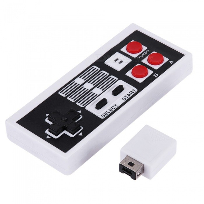 Wireless Mini Game Controller Classic Gamepad Control + USB Receiver for  NES Nintendo Entertainment System White