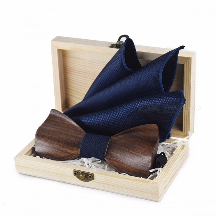 Men's Fashion Wedding Party Handmade Wood Bow Tie 3D Wedding Bow Tie