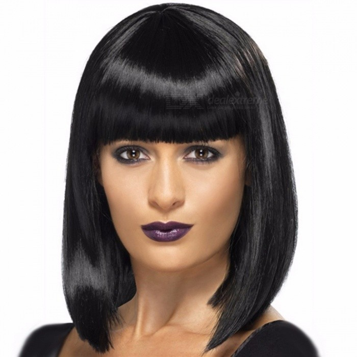 Natural-Short-Bob-Wig-Heat-Resistant-Synthetic-Hair-Women-Bobo-Wigs-Jet-black