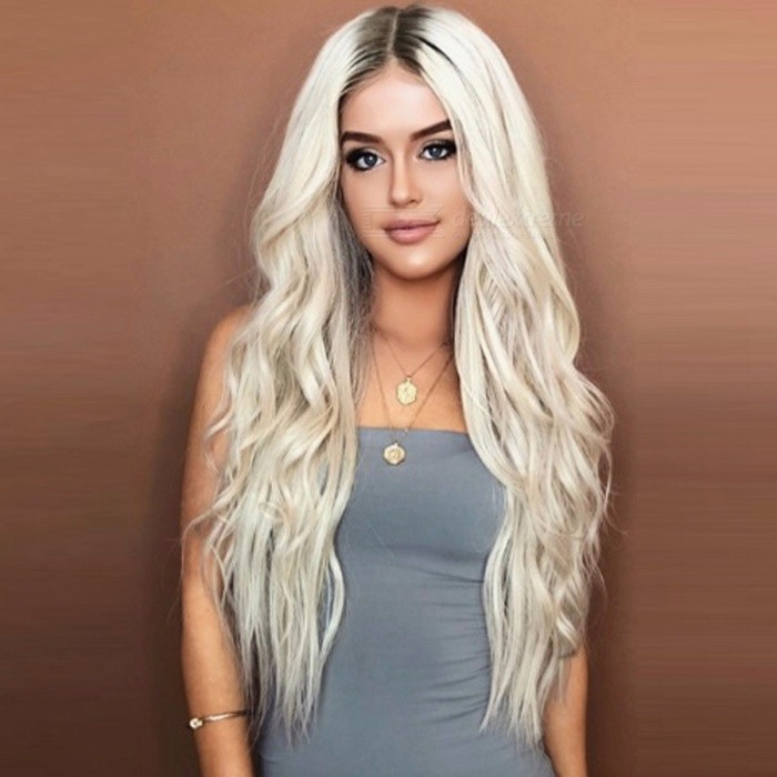 European-And-American-Style-Long-Curly-Hair-Chemical-Fiber-Two-color-Wig-Set-Platinum-Blonde28inches
