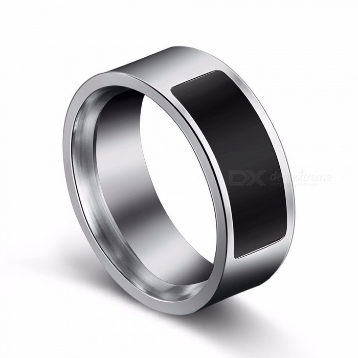 Mens Titanium Steel 6-14 Yard Two-chip Black NFC Smart Ring Mobile Phone Unlock Waterproof Touch Health Protection Rings