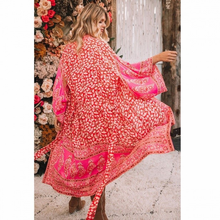 7d278606809c ... 2018 Women's Kimono Sleeve Sashes Cardigan Blouse Wrapped Boho Outwear  Floral Print Summer Beach Cover Up ...