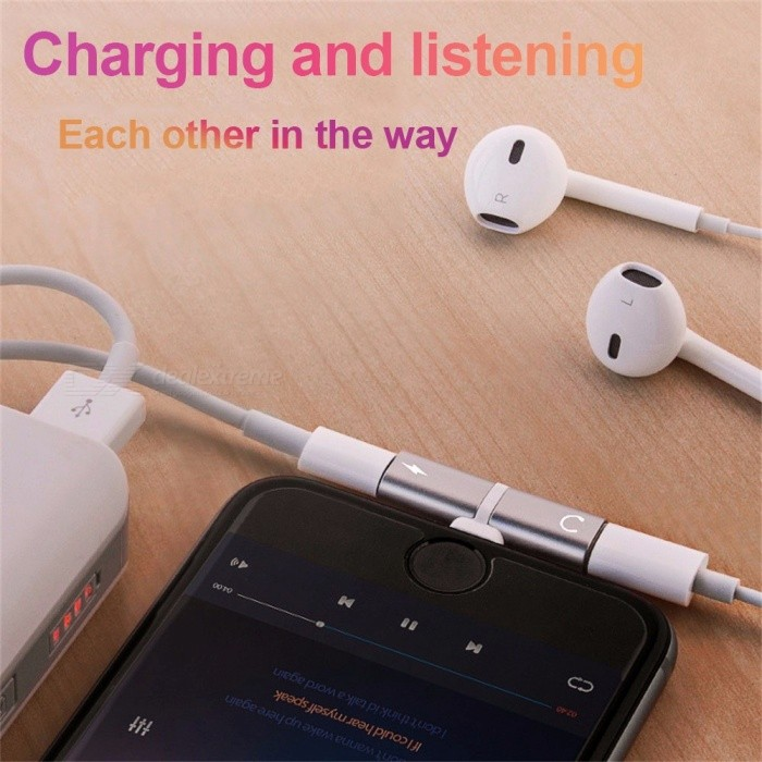 Charging Music Adapter Converter Headphone Earphone Splitter 2 In 1 Charge Lightning Adapters For IPHONE 7 8 X
