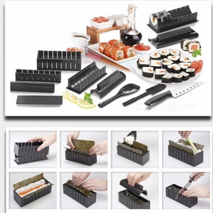 b41b1761b81dd Sushi Making Kit Rice Molds Multifunctional Mould Suit New Cooking Tools  For Japanese Korean Food With 11Pcs Black - Free shipping - DealExtreme