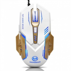USB Wired Mechanical Mouse White Black Colorful LED Lights Gaming Office Computer Home Universal Mouse White