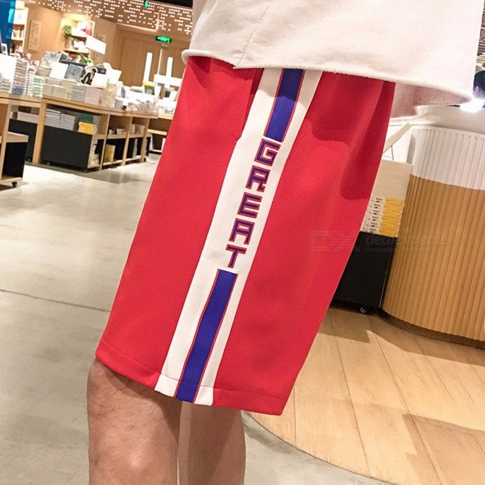 2018 New Summer Casual Pants Elastic Tape Stitching Striped Men Trend Pants Five Cents Straight Trousers Black/M